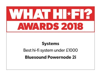 Bluesound powernode 2i what hi-fi award 2018 review icon
