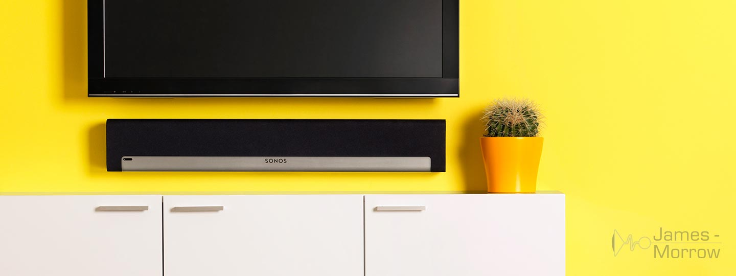 sonos playbar lifestyle yellow wall mounted image