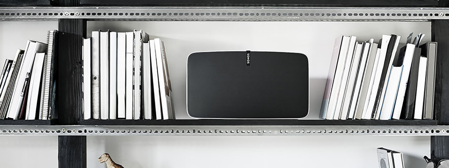 Sonos Play:5 on Bookshelf with Books Header