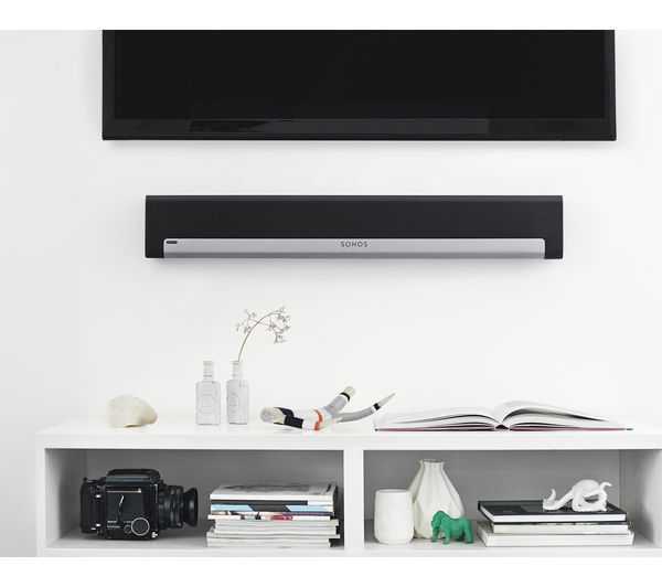 Sonos Playbar moutned on white wall under TV lifestyle