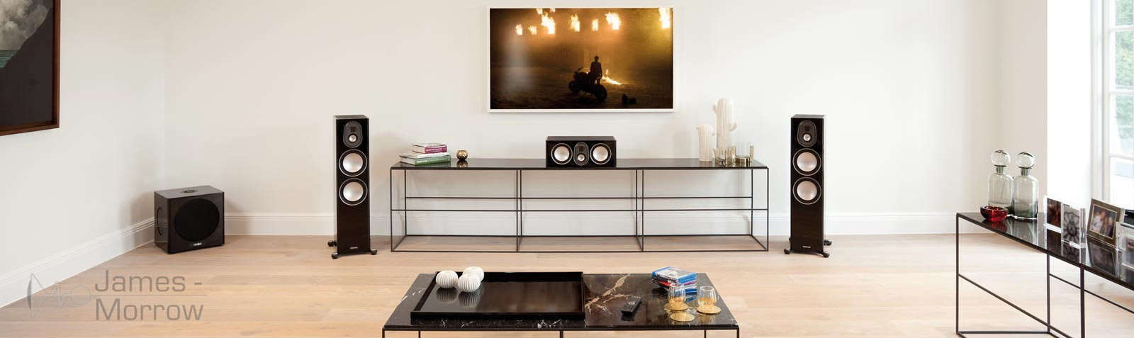 Monitor audio gold 300 black A/V setup living room lifestyle banner image