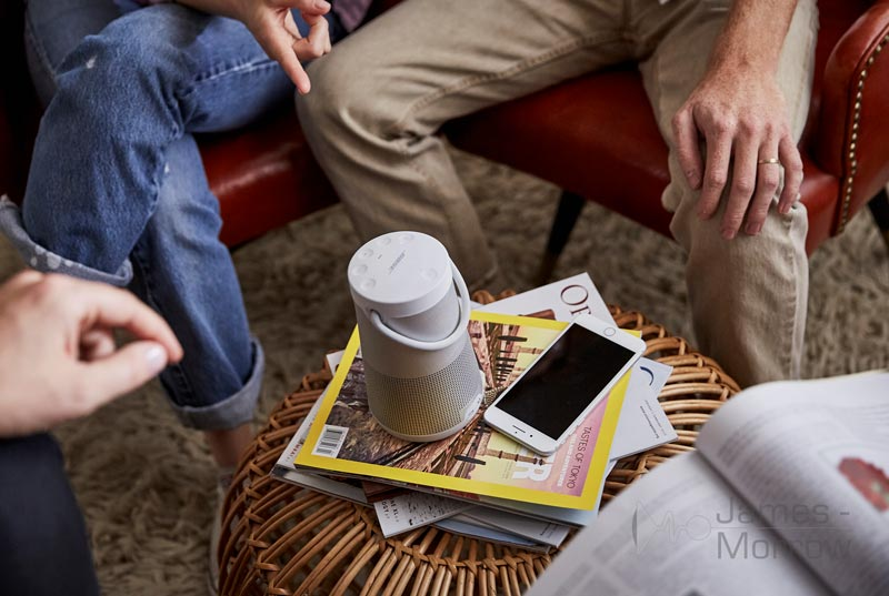 bose soundlink revolve+ on small coffee table lifestyle image