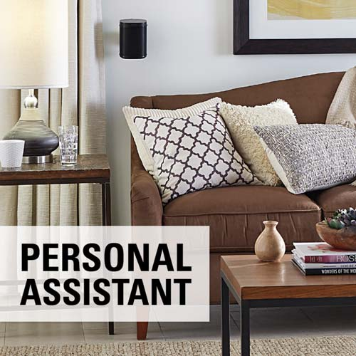 sanus wswm21 black personal assistant label in living room lifestyle image