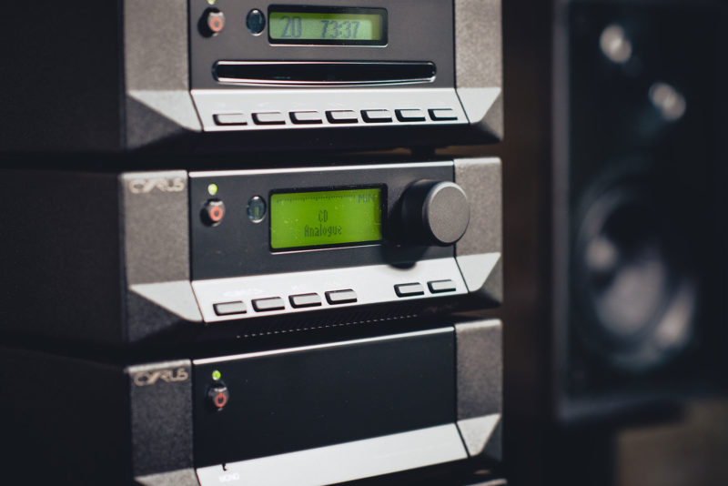 Cyrus Pre2 Dac stacked with speaker in background