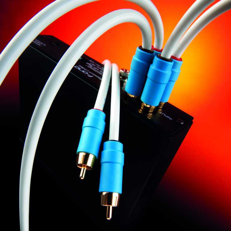 chord company analogue rca cables plugged into device