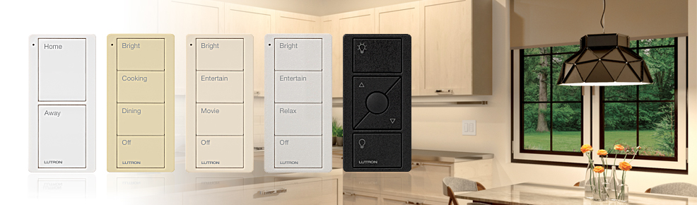 selection of Lutron Pico controller colours