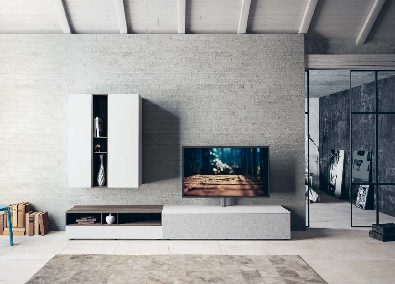 Spectral Next stand with smart light off lifestyle image in contemporary living room