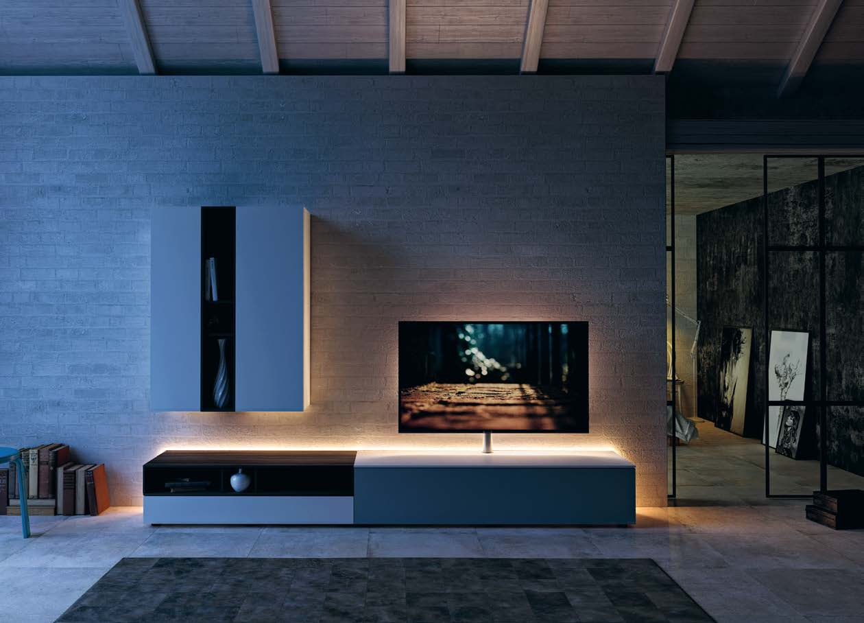 Spectral Next stand with smart light on lifestyle image in contemporary living room