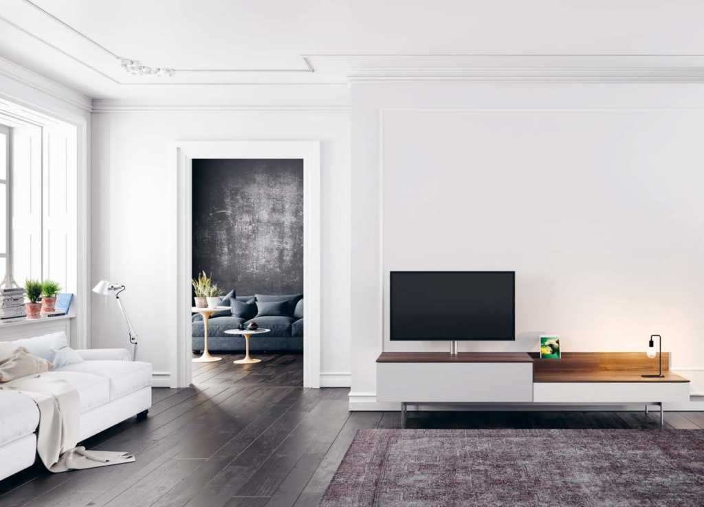 Spectral Next stand lifestyle image in contemporary living room