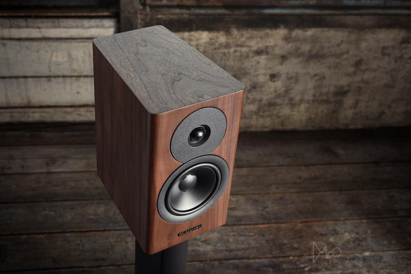 Dynaudio Evoke 10 Walnut top side front lifestyle banner image