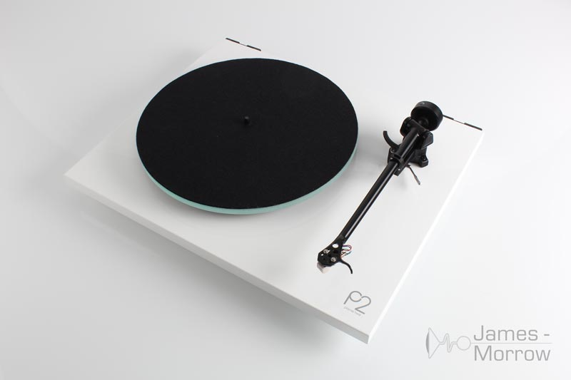 rega planar 2 white front side elevated product image