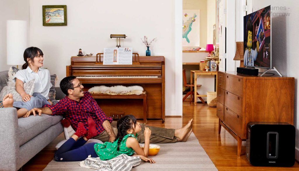 Sonos Beam Bundle with Sub black family watching TV banner image