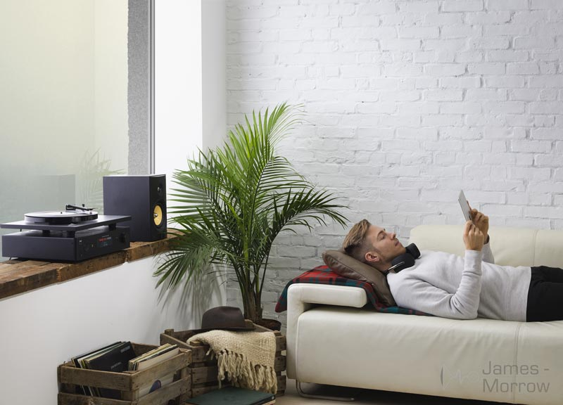 NAD C 368 in living room with man lifestyle image