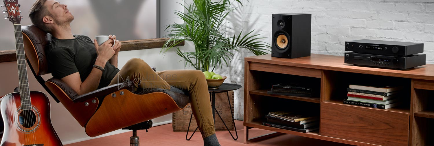 NAD C 568 CD player on wooden stand with hifi lifestyle banner image