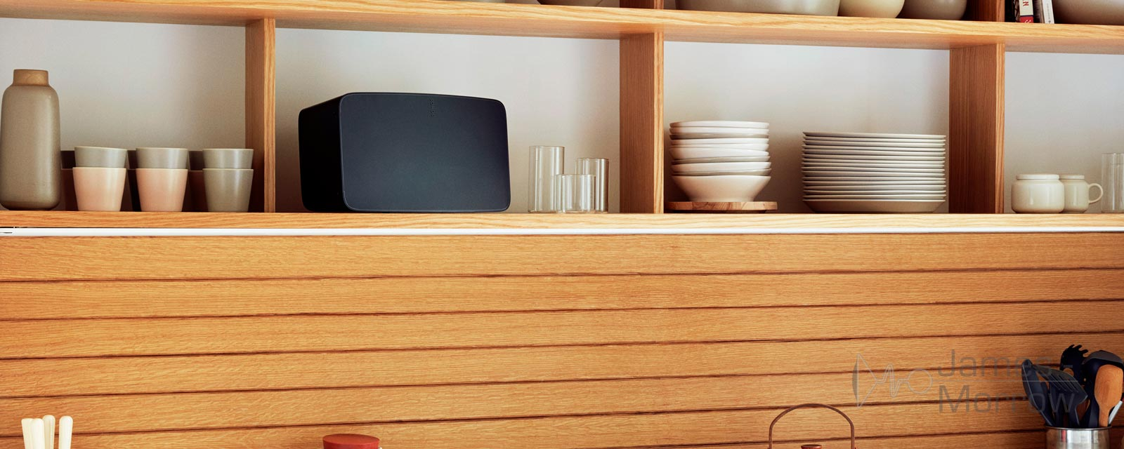 Sonos Five Black shelf lifestyle image banner