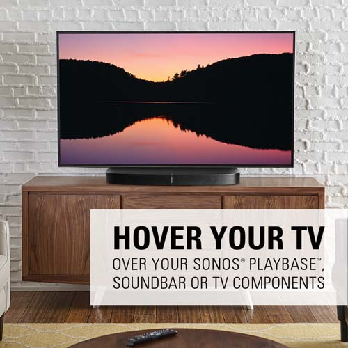 sanus swivel tv stand for playbase hover your TV text lifestyle image