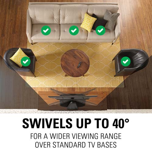 sanus swivel tv stand for playbase swivels up to 40 degrees text lifestyle image