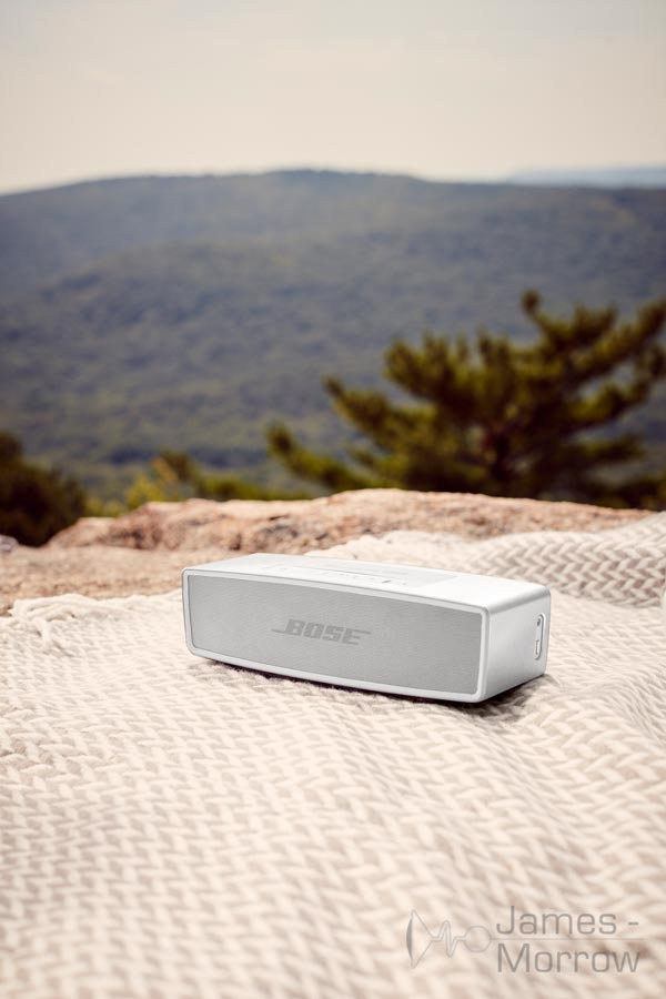 Bose SoundLink Mini II Special Edition silver table cloth lifestyle image