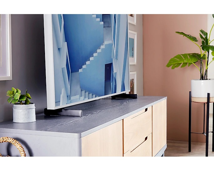 samsung frame ls03t close-up table lifestyle image